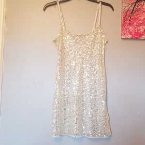 Dresses & Skirts - Nwot Gold Sequined See~Though Mini Dress Size S